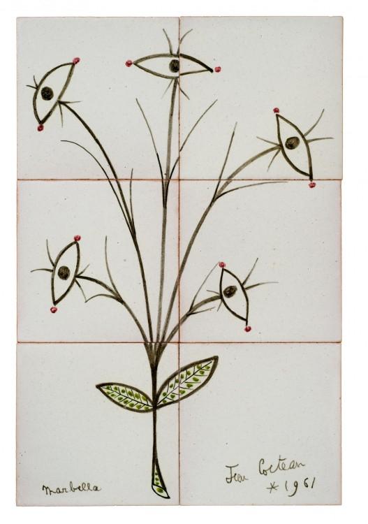Κοκτώ_Άνθος των ματιών, Marbella, 1961_Επιτοίχια σύνθεση με έξι πλακίδια από επισμαλτωμένη τερακότα_42 × 28