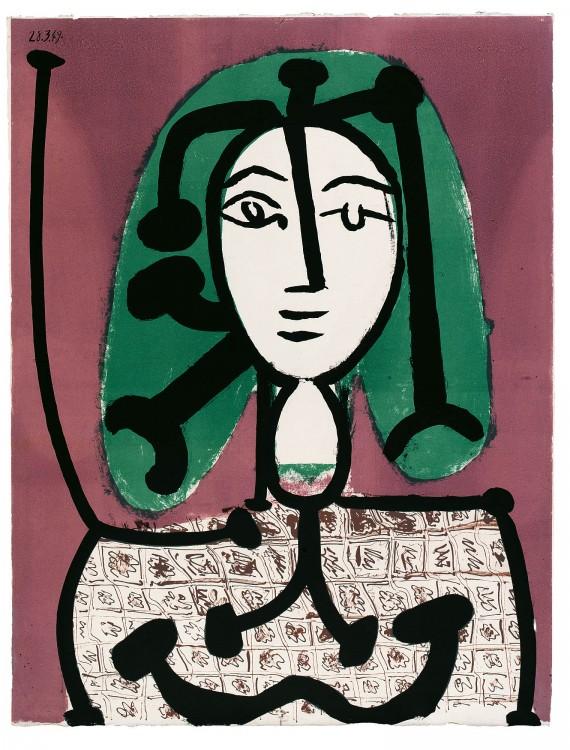 Πάμπλο Πικάσο, Γυναίκα με πράσινα μαλλιά, 28.3.1949_Λιθογραφία