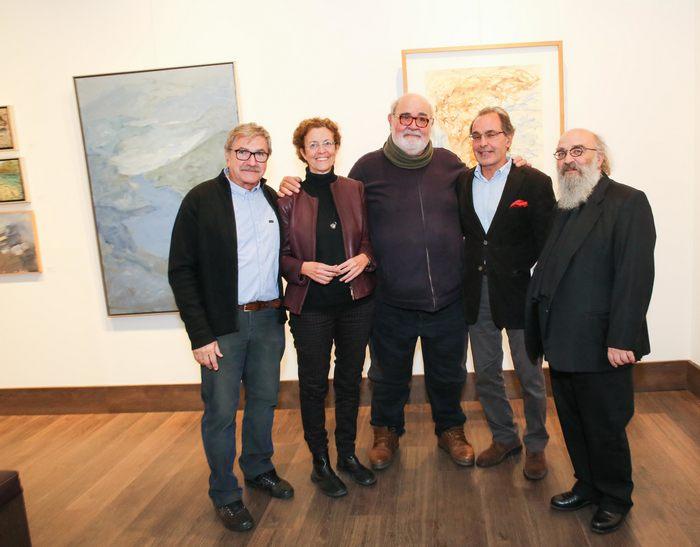 Οι ζωγράφοι Γ.Αδαμάκος, Β.Σταματοπούλου και Γ.Ξένος με τους Χάρ.Καμπουρίδη και Μάνο Στεφανίδη.