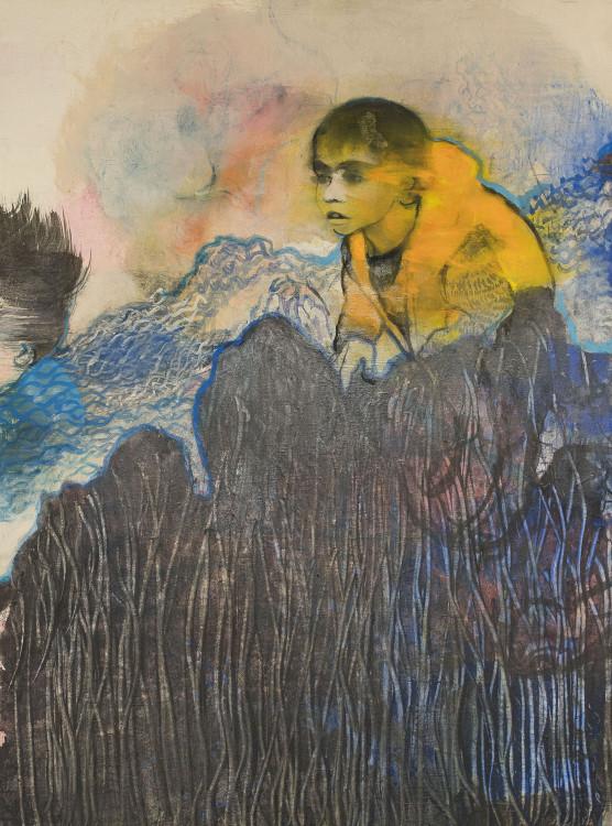 Χωρίς τίτλο, 2016, μεικτή τεχνική σε μετάξι μαρουφλαρισμένο σε καμβά, 81 x 60 εκ.