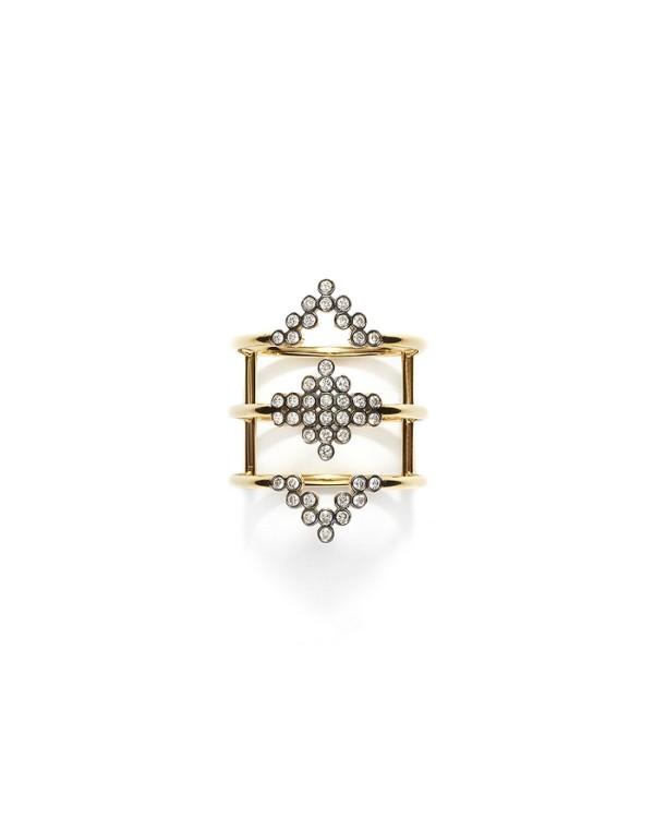 Δαχτυλίδι από κίτρινο και μαύρο χρυσό 18Κ, και λευκά brilliant-cut διαμάντια