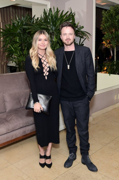 WEST HOLLYWOOD, CA - FEBRUARY 26: Lauren Parsekian and Aaron Paul attend an intimate dinner celebrating ChopardÕs Journey to Sustainable Luxury hosted by Colin & Livia Firth and Caroline Scheufele on February 26, 2016 in West Hollywood, California. (Photo by Stefanie Keenan/Getty Images for Chopard) *** Local Caption *** Lauren Parsekian;Aaron Paul