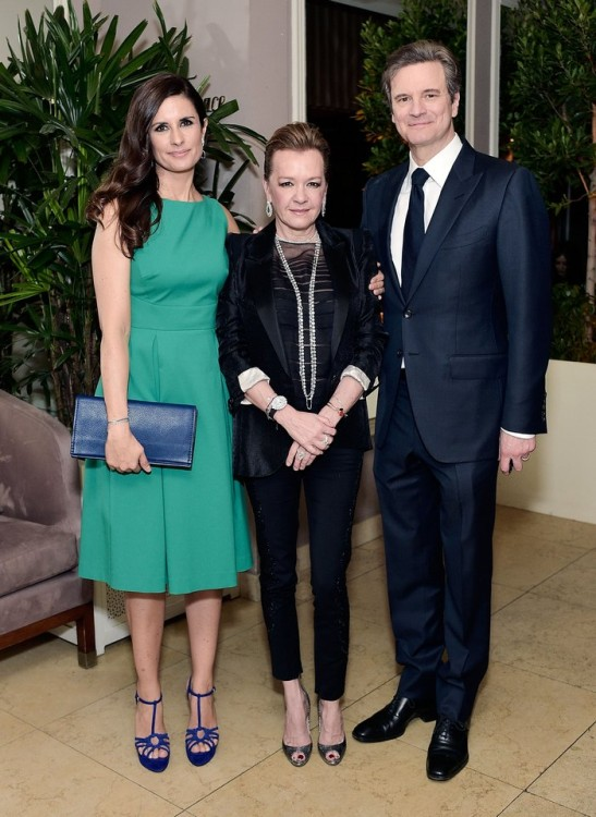 WEST HOLLYWOOD, CA - FEBRUARY 26:  Livia Firth, Caroline Scheufele and Colin Firth attend an intimate dinner celebrating ChopardÕs Journey to Sustainable Luxury hosted by Colin & Livia Firth and Caroline Scheufele on February 26, 2016 in West Hollywood, California.  (Photo by Stefanie Keenan/Getty Images for Chopard) *** Local Caption *** Livia Firth;Caroline Scheufele;Colin Firth