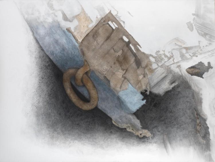 Σ.Σόρογκας,Δύο εικόνες από ένα ρημαγμένο καΐκι στην Βιστωνίδα,Δίπτυχο,150x400εκ