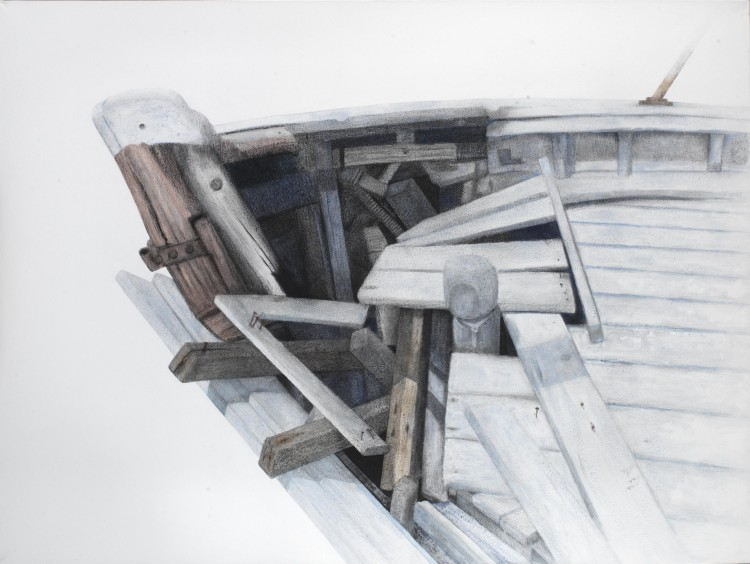 Σ.Σόρογκας,Παλιό καΐκι στην παραλία των Αβδήρων,150x600εκ