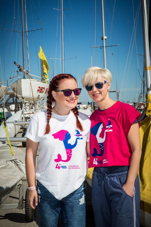 Η διοργανώτρια του Sail for Pink Αλεξία Αηδονά με την Ελένη Ασβεστά της Kleemann