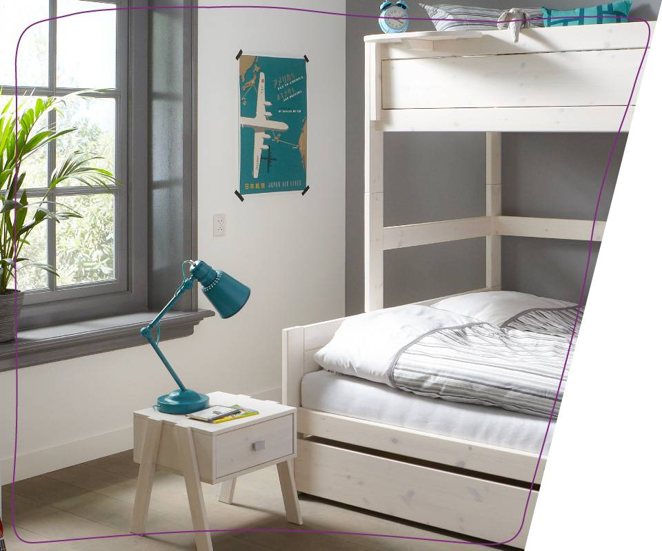 "Featuring two overlapping beds – one single bed on the top and one double on the bottom - our ""Familybed"" will accommodate at least three adults without requiring as much as an inch more than needed."