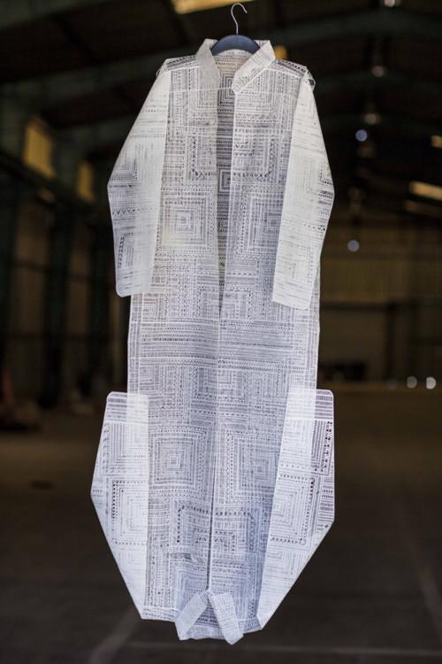 Stratis Tavlaridis, Double shirt III, 2014, handmade paper, 52x180cm _1