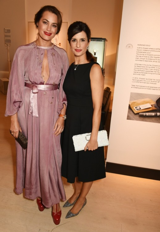 LONDON, ENGLAND - OCTOBER 11: Yasmin Le Bon (L) and Livia Firth attend the cocktail opening of the Chopard exhibition 'L.U.C - L'art d'une Manufacture' at Phillips Gallery on October 11, 2016 in London, England. Pic Credit: Dave Benett