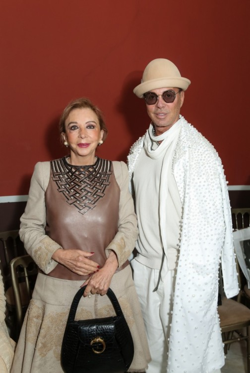 Η Χρυσάνθη Λαιμού με τον σχεδιαστή Λάκη Γαβαλά