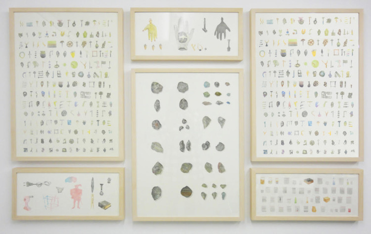 Giorgos Gerontides, Collected Objects, colored dust on paper, dimensions variable