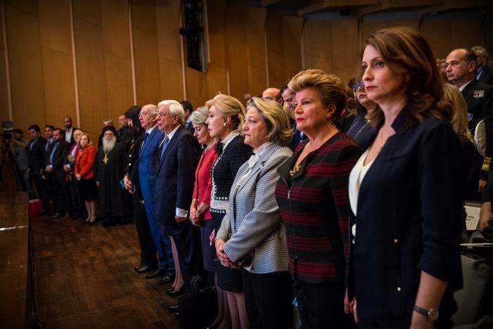 Στην έναρξη της Συνάντησης των Αθηνών οι παρευρισκόμενοι τήρησαν ενός λεπτού σιγή εις μνήμην του πρώην Προέδρου της Δημοκρατίας, Κωστή Στεφανόπουλου.