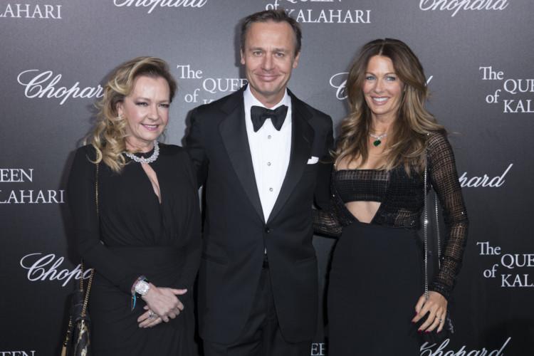 Caroline Scheufele, Ernesto Bertarelli et sa femme. PrŽsentation de la collection Chopard The Queen of Kalahari au ThŽatre du Ch‰telet, Paris le 21 janvier 2017.