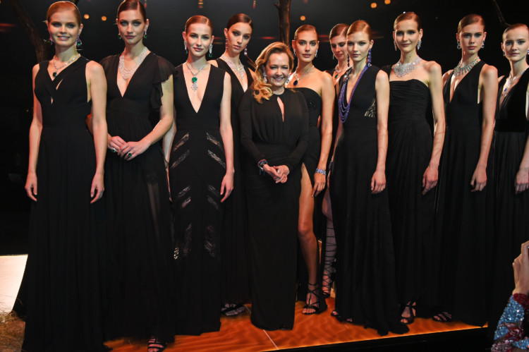 PARIS, FRANCE - JANUARY 21: Caroline Scheufele (C), Artistic Director and Co-President of Chopard, poses with models as Chopard presents The Garden Of Kalahari collection at Theatre du Chatalet on January 21, 2017 in Paris, France. Pic Credit: Dave Benett