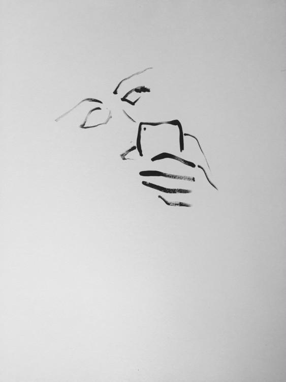 Panos Papadopoulos, _Texting poetry_, 2017, 46 x 37cm, λάδι και μολύβι σε χαρτί, με την ευγενικη παραχωρηση του καλλιτέχνη και της Eleni Koroneou Gallery, Aθήνα