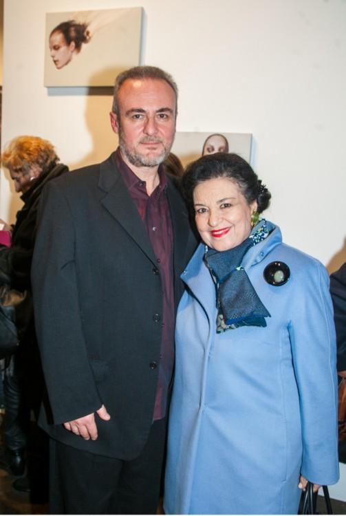 Ο ζωγράφος Τάσος Μισούρας και η Διευθύντρια της Εθνικής Πινακοθήκης Μαρίνα Λαμπράκη Πλάκα.