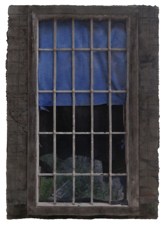 Windows Miserere 16.A.6, 2016. Digital pigment print on handmade indian paper, oil, graphite, balsa. 42x30cm