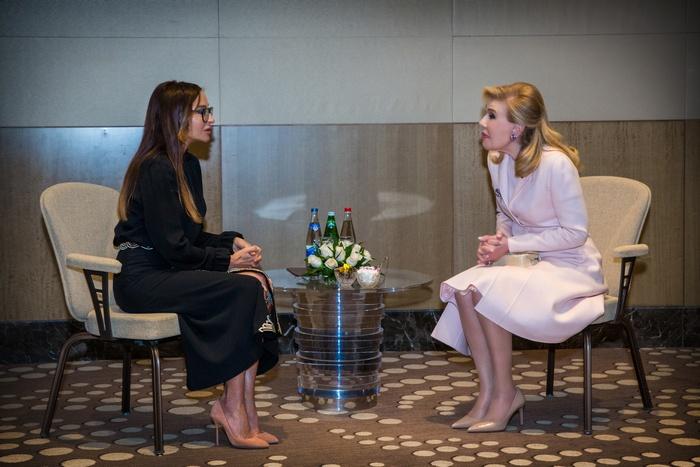 Η κυρία Μαριάννα Β. Βαρδινογιάννη και η Αντιπρόεδρος και Πρώτη Κυρία του Αζερμπαϊτζάν, Mehriban Aliyeva σε ιδιαίτερη συνάντηση