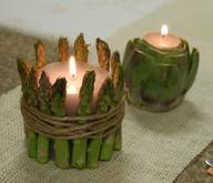 Κεριά δεμένα σε σπαράγγια  ή αγκινάρες και σπάγκο