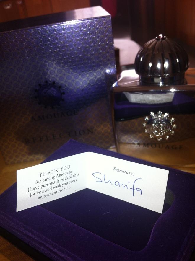 Το άρωμα μου και το χειρόγραφο note που βρήκα μέσα του όταν το άνοιξα στο σπίτι μου...Cool!