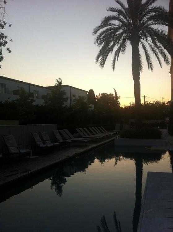Στην πισίνα με τους φοίνικες, την ώρα που δύει ο ήλιος...