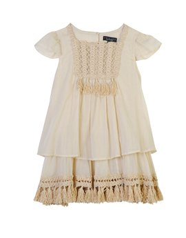 Twin-Set Girl, Natural cotton tassel dress, 93 euro...