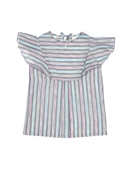 Talc Cotton stripe blouse with frill sleeves, 33 euro...