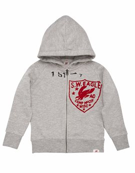 Boys Eagle Badge Hooded Sweat Jacket, American Outfitters