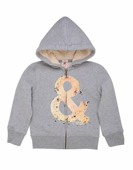Boys Grey Hooded Sweat Jacket, American Outfitters