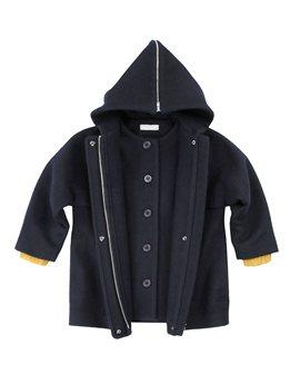 Girls Dark Blue Hooded Wool Coat, Stella McCartney