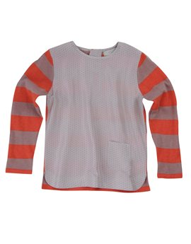 Girls Striped Knit Sweater with printed silk front , Stella McCartney