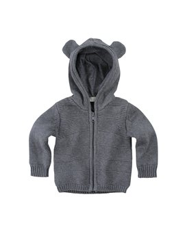 Stella McCartney Kids, Baby grey hooded jacket with mouse ears