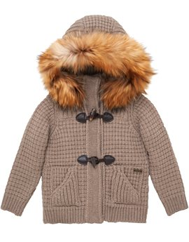 Bark Knitted Duffle Coat with Removable Fur Trimmed Hood
