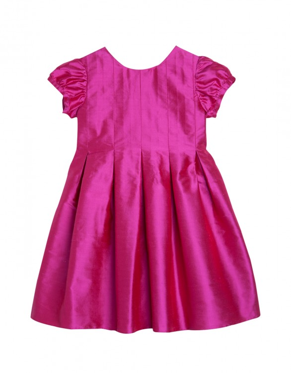 Girls Fuchsia Silk Party Dress with Optional Bow