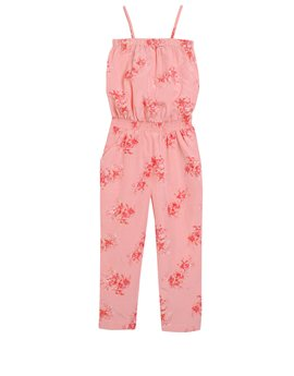 AMERICAN OUTFITTERS Girls Coral Floral Print Jumpsuit