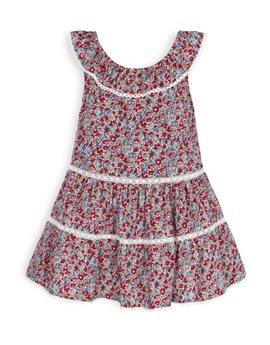 TROIZENFANTS Girls Floral Print and Lace Dress
