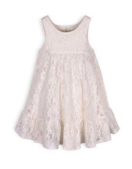 TROIZENFANTS Girls Off White Lace Sleeveless Dress