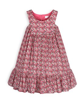 TROIZENFANTS Girls Fuchsia Floral Print Sun Dress