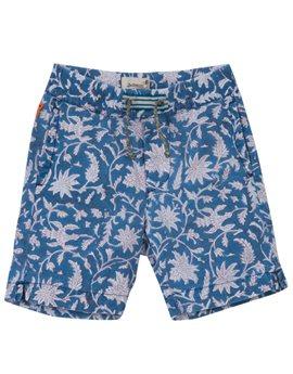 Boys Blue Leaf Print Bermuda Shorts