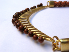 Statement Brown Necklace With Glass Beads