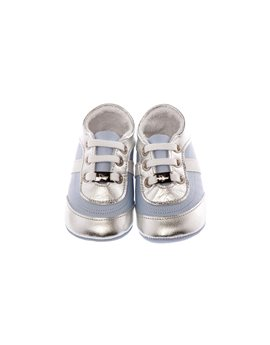 Light Blue Soft Leather Baby Lace Up Shoes