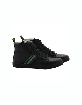 Boys Black Soft Leather Hi Top Trainers
