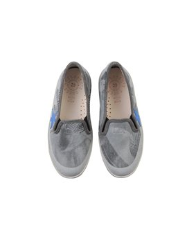 Blue and Grey Slip On Canvas Sneakers