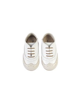 Baby Boy White and Beige Lace Up Shoes