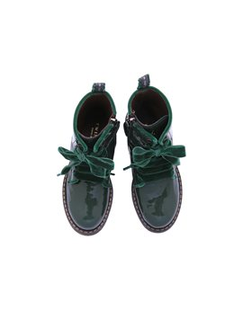 Girls Green Patent Leather Boots with Velvet Laces