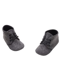 Baby Boy Grey Flannel Lace Up Bootee