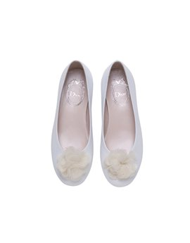 Girls Pearl White Leather Ballerinas with Tulle