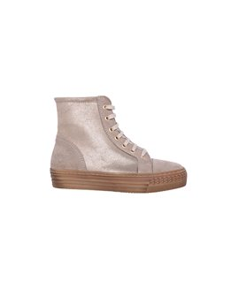 Girls Leather and Suede Gold Shimmer Sneakers