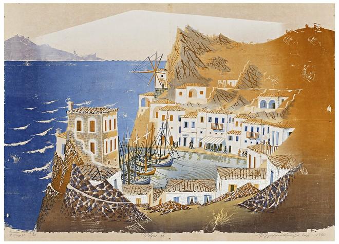 Ύδρα ΙΙ, 1980 Ξυλογραφία 90Χ120 εκ. Συλλογή Παναγιώτη Γραμματόπουλου