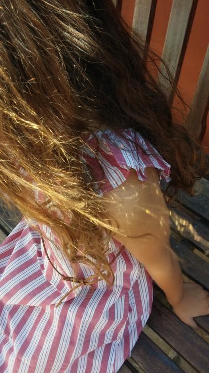 Cotton Striped Ruffle Dress